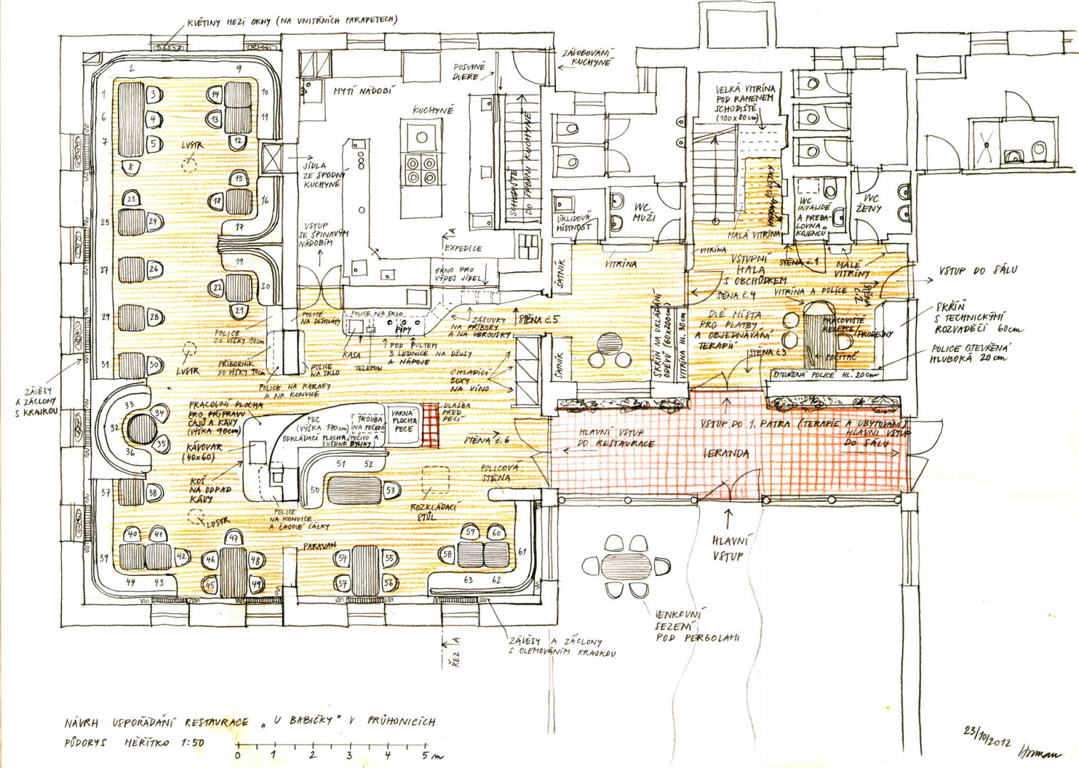 Garden Restaurant And Physical Therapy Center In Prhonice Studio Arc Schematic Floor Plan Of The
