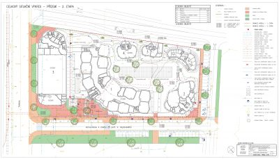 Půdorys budov v areálu se zakreslením navrhovaných inženýrských sítí
