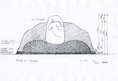 Čelní pohled na náhrobek