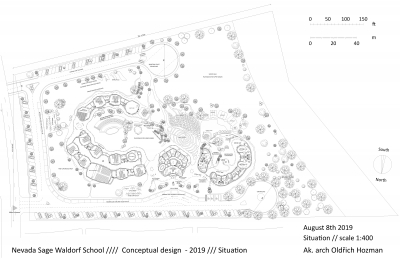 Completed situation of the Waldorf school campus in Reno. At the bottom left is the eight-grade Waldorf Ground School. At the top left are special classrooms such as a music class, workshop classes, a eurythmic classroom and an outdoor classroom. In the middle is the school office building. In front of office building on the north side is the main entrance to the school and kindergarten. The office building is slightly sunk towards the garden. On the north side, this shift created a small recessed square in front of the main entrance. Above the office building is a school garden in the middle on the south side. To the right is the kindergarten complex with two nursery classes with its own play garden. There are access roads with parking lots and fire turning points around the complex. The ground school buildings have a garden with an amphitheater inside. It is a place for school cultural events but also a place supporting social life. The client's wish was to allow a meeting between parents who come to pick up their children in the afternoon…