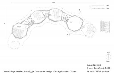 Dokončený půdorys budovy speciálních učeben waldorfské školy. Vlevo je hudební účebna se skladem hudebních nástrojů, uprostřed učebny dílen (keramika a dřevodílna), vpravo je eurythmický sál a venkovní učebna. Mezi třídami jsou sklady a wc. Vstup do učeben je ze severní strany ze zastřešené venkovní pasáže. Tato pasáž tvoří podloubí lemující celé vnitřní prostranství dvora. Podloubí má kromě komunikačního a sociálního účelu také funkci letního stínění. V zimě chrání proti sněhu a přes rok proti dešti. Třídy speciálních učeben na sebe navazují v oblouku a uzavírají tak z jižní strany vnitřní dvůr školy. Ve vnitřním dvoře je zahrada a amfiteátr.