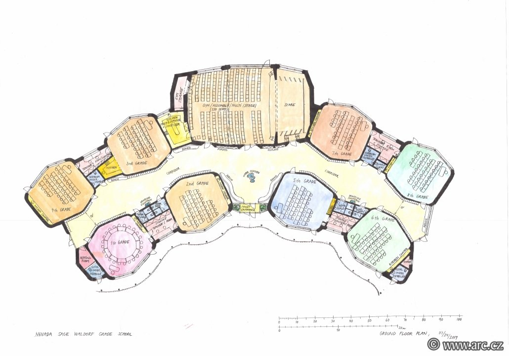 Final variant of the floor plan of the ground floor of the Waldorf school. On the left are the lower grade classes. On the right are higher grade classes. In the middle of the top is a multi-purpose hall. Class shapes have a polygonal shape close to a hexagon with rounded corners. One of the reasons for these shapes is the improvement of acoustics in the classrooms. In the middle between the classrooms is a hallway with changing spaces (on walls). The whole floor plan is to the south in an arch and surrounds the inner courtyard of the school in the middle.
