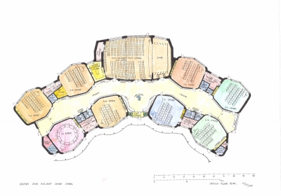 Ground plan of the Waldorf elementary school. On the left are the first degree classes. On the right are the second degree classes. At the top center is a multipurpose hall. Class shapes have a polygonal shape close to a hexagon with rounded corners. One of the reasons for the form is the improvement of classroom acoustics. In the middle of the classroom is a corridor with dressing rooms. The entire ground plan is facing the south and is surrounded by the inner courtyard of the school.