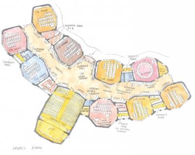 Půdorys waldorfské základní školy ukazuje jednu z variant uvažovaného uspořádání tříd a víceúčelového sálu. Vedle víceúčelového sálu je vpravo osmiúhelníkový sál hudební výchovy. Vpravo jsou třídy prvního stupně. Vlevo jsou třídy druhého stupně. Budova je zaoblená a na její jižní straně obklopuje vnitřní zahradu s dětským hřištěm.
