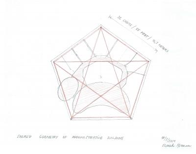Půdorys administrativní budovy vepsaný do pětiúhelníku.