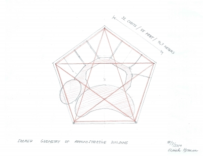 Ground floor plan of administrative building in pentagonal shape.