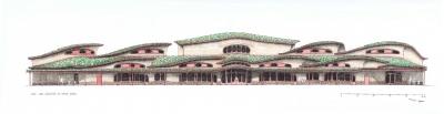 Pohled na základní waldorfskou školu z jižní strany. Vlevo jsou učebny prvního stupně. Uprostřed je hlavní vstup a v pozadí víceúčelový sál. Vpravo jsou učebny druhého stupně. Budova má zelené střechy. Tvary oken jsou měkce zaoblené.