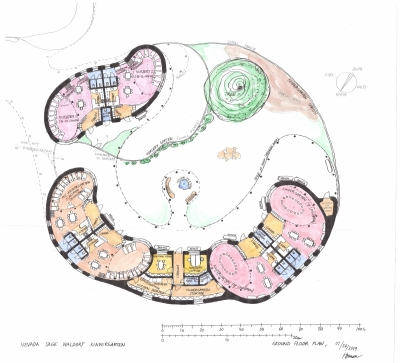 Floor plan of six classes of a Waldorf kindergarten. At the top left are two classes of school nursery. On the left are two classes for children from 3 to 4 years. And on the right two classes for children under 6 years. The classes are arranged in a large U-shaped arc. Their shape closes the south-facing inner garden. Classroom´s shapes are very rounded. For very small children up to 6 years, these soft shapes and various nooks are suitable. It supports their psyche and softens the acoustics.