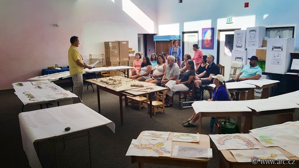 Final presentation at the current Waldorf school in Reno. Models and an architectural study of the school campus are displayed on the tables.