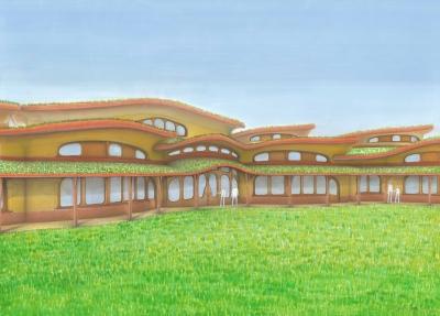 Pohled na detail střech waldorfské školy. Pohled z jihozápadní strany. Organicky tvarované střechy korespondují s charakterem krajiny v okolí. Uprostřed vidíme v pozadí vyvýšenou část, kde je tělocvična a školní sál. Snížené střechy v popředí, kde je vstup do školy chrání jižní okna před letním přehříváním.